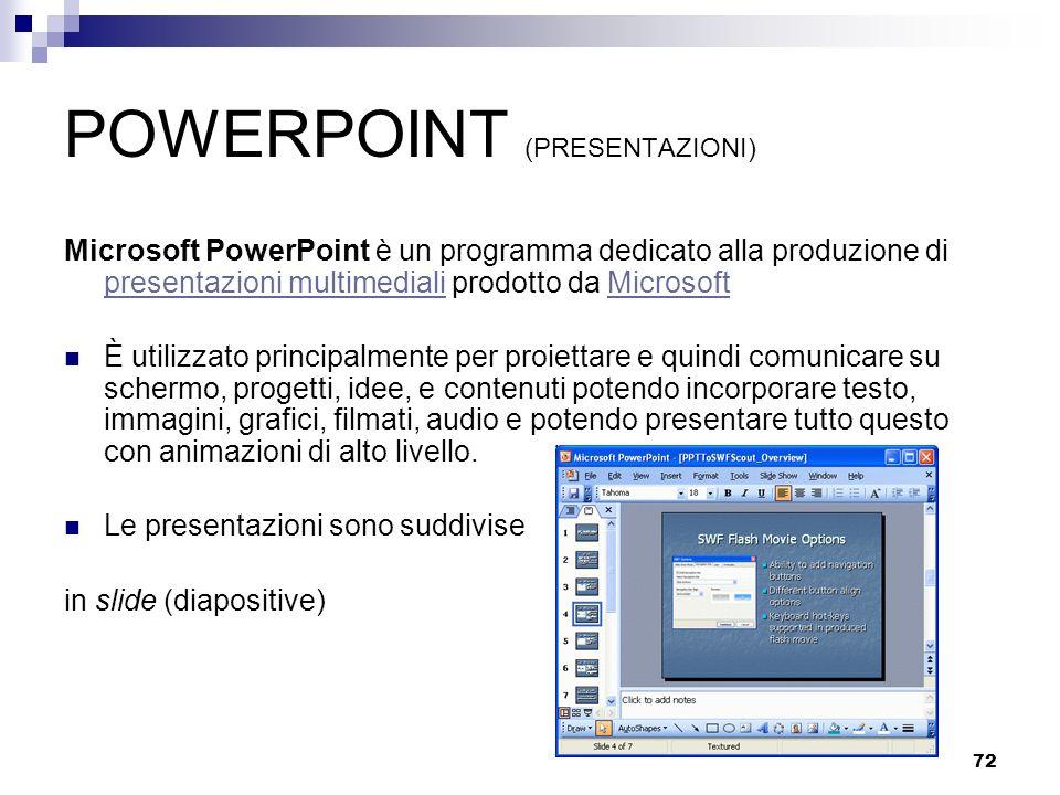 72 POWERPOINT (PRESENTAZIONI) Microsoft PowerPoint è un programma dedicato alla produzione di presentazioni multimediali prodotto da Microsoft present