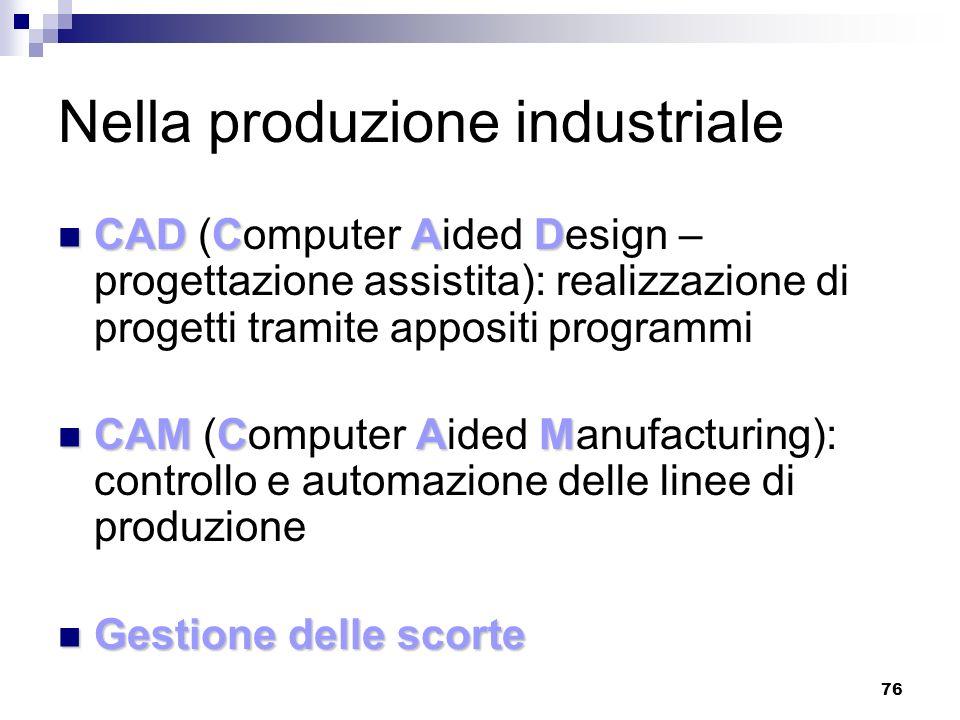 76 Nella produzione industriale CADCAD CAD (Computer Aided Design – progettazione assistita): realizzazione di progetti tramite appositi programmi CAM