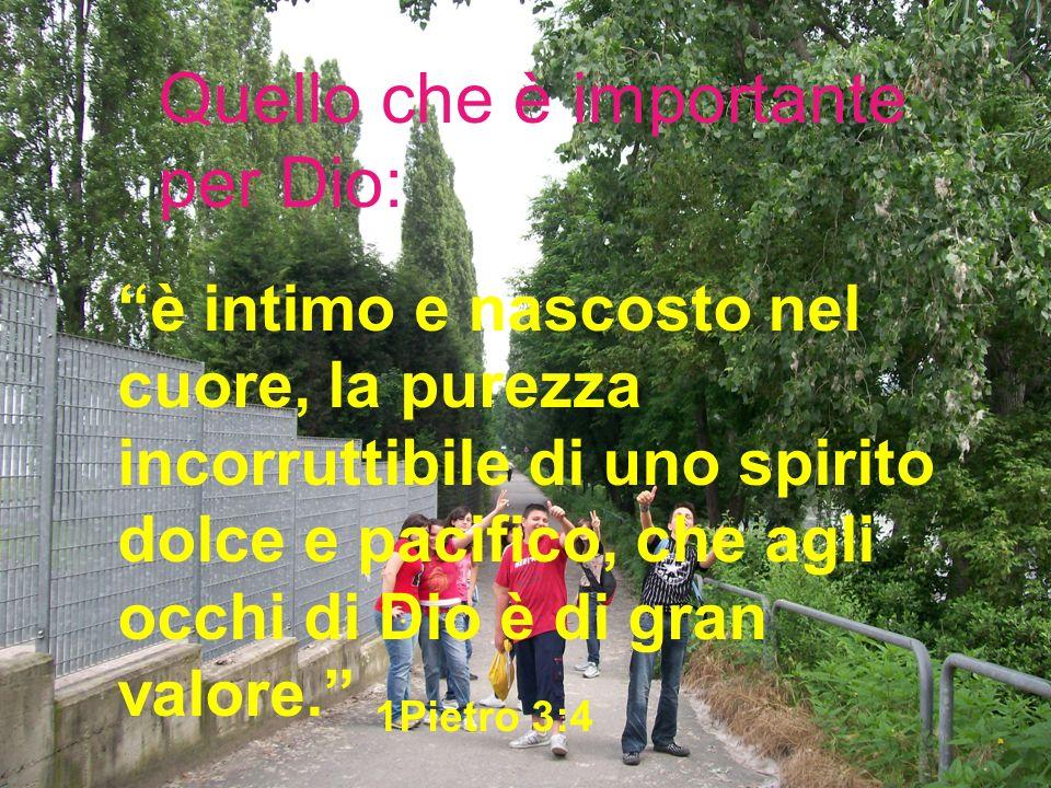 Quello che è importante per Dio: è intimo e nascosto nel cuore, la purezza incorruttibile di uno spirito dolce e pacifico, che agli occhi di Dio è di