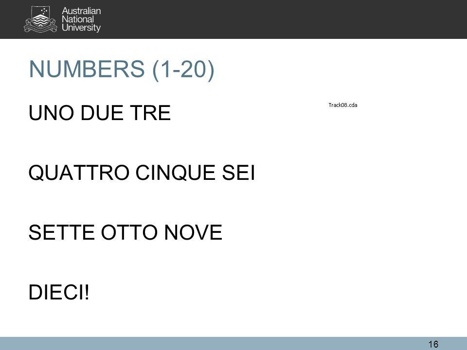 NUMBERS (1-20) UNO DUE TRE QUATTRO CINQUE SEI SETTE OTTO NOVE DIECI! 16