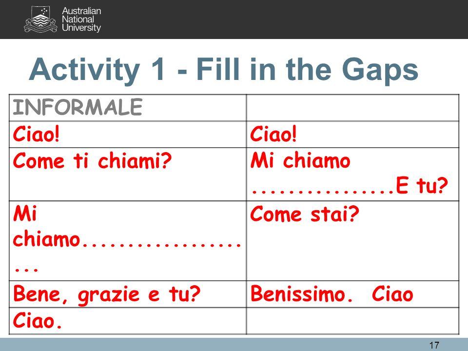 Activity 1 - Fill in the Gaps INFORMALE Ciao! Come ti chiami?Mi chiamo................E tu? Mi chiamo..................... Come stai? Bene, grazie e t