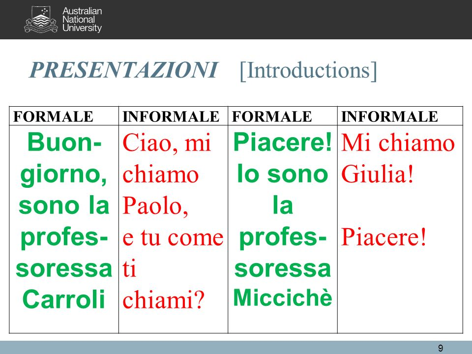 PRESENTAZIONI [Introductions] FORMALINFORMALFORMALINFORMAL Good morning, (afternoon) I am prof.ssa Carroli Hi, my name is Paolo, whats yours.
