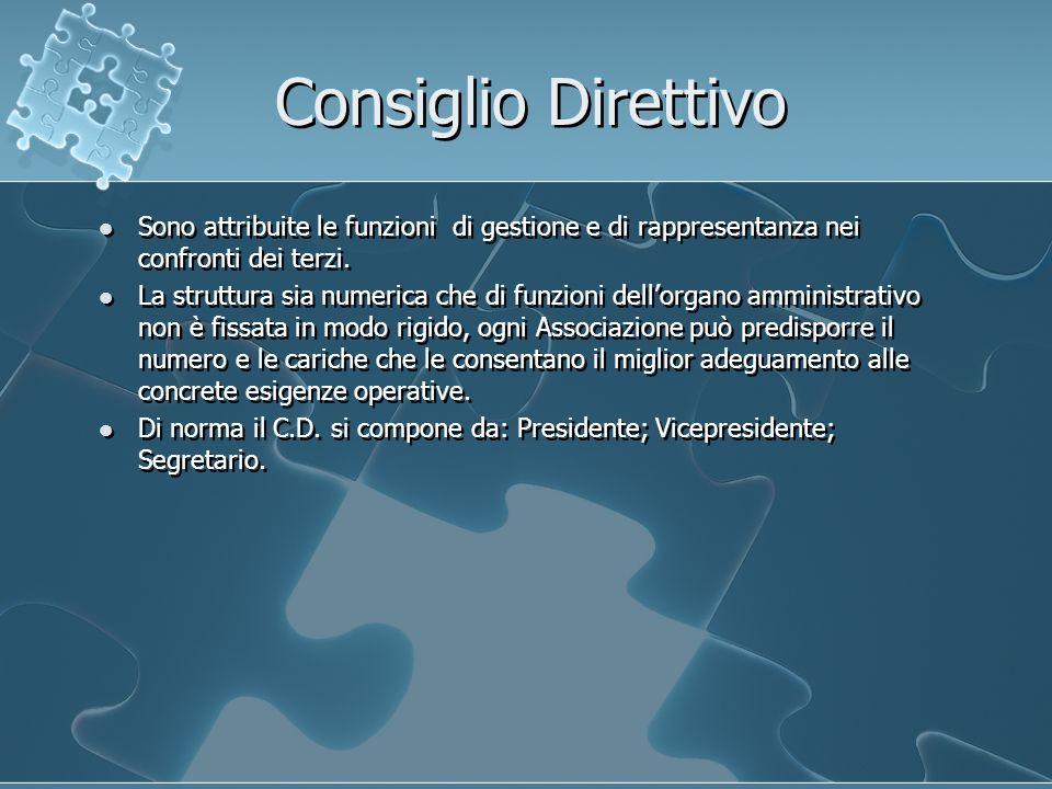 Consiglio Direttivo Sono attribuite le funzioni di gestione e di rappresentanza nei confronti dei terzi. La struttura sia numerica che di funzioni del