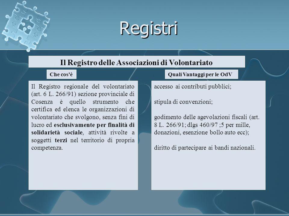 Registri Il Registro delle Associazioni di Volontariato Che cosè Il Registro regionale del volontariato (art. 6 L. 266/91) sezione provinciale di Cose
