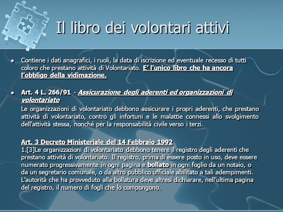 Il libro dei volontari attivi Contiene i dati anagrafici, i ruoli, la data di iscrizione ed eventuale recesso di tutti coloro che prestano attività di