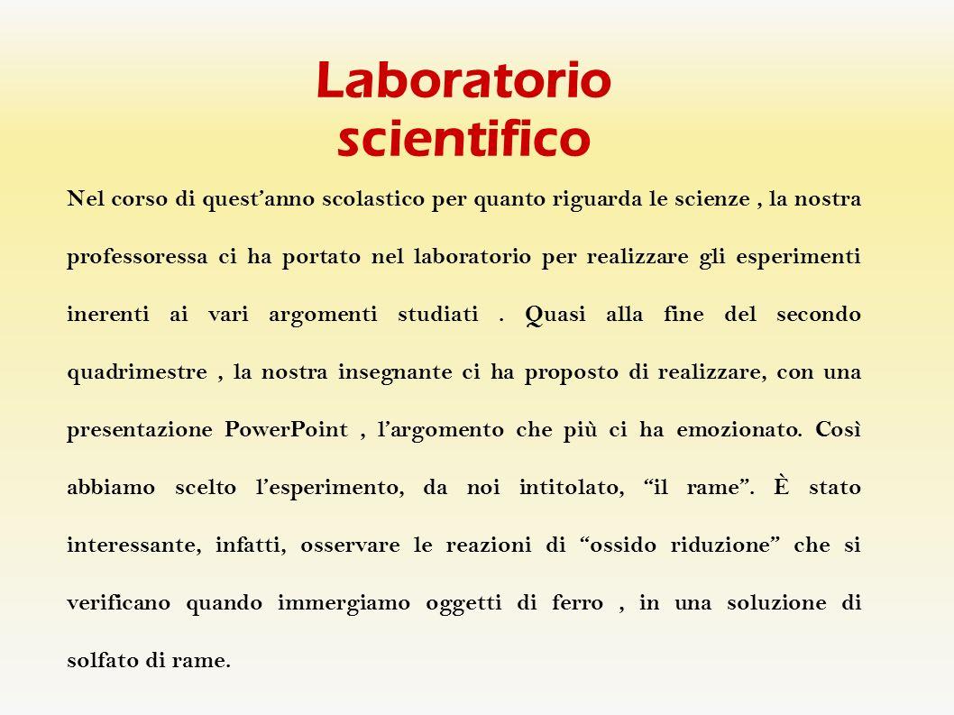 Laboratorio scientifico Nel corso di questanno scolastico per quanto riguarda le scienze, la nostra professoressa ci ha portato nel laboratorio per re