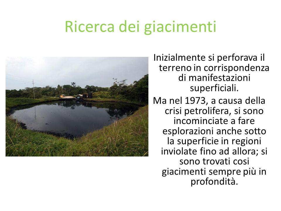 Ricerca dei giacimenti Inizialmente si perforava il terreno in corrispondenza di manifestazioni superficiali. Ma nel 1973, a causa della crisi petroli