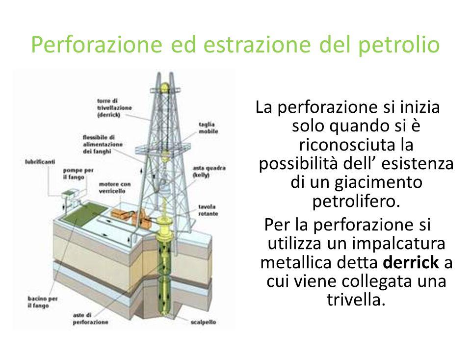 Perforazione ed estrazione del petrolio La perforazione si inizia solo quando si è riconosciuta la possibilità dell esistenza di un giacimento petroli