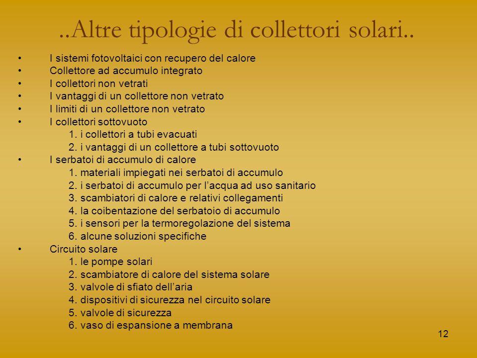 12..Altre tipologie di collettori solari.. I sistemi fotovoltaici con recupero del calore Collettore ad accumulo integrato I collettori non vetrati I