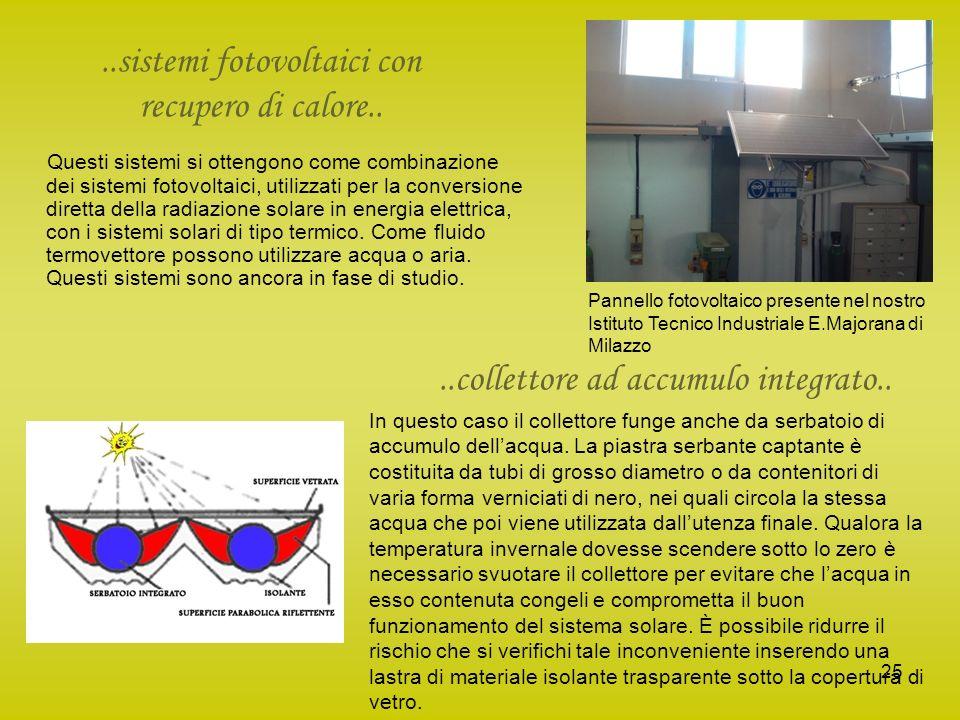 25..sistemi fotovoltaici con recupero di calore.. Questi sistemi si ottengono come combinazione dei sistemi fotovoltaici, utilizzati per la conversion