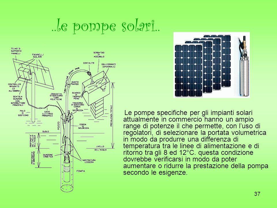 37..le pompe solari.. Le pompe specifiche per gli impianti solari attualmente in commercio hanno un ampio range di potenze il che permette, con luso d