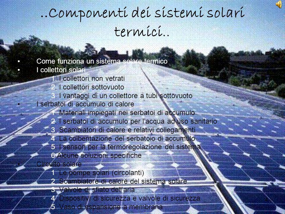 4..Componenti dei sistemi solari termici.. Come funziona un sistema solare termico I collettori solari 1. I collettori non vetrati 2. I collettori sot