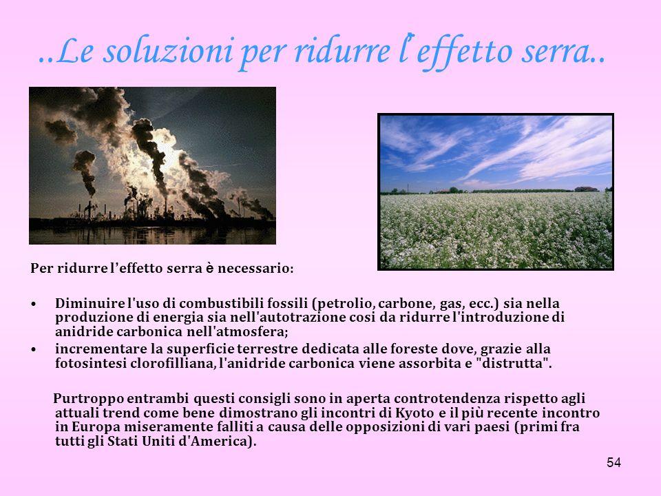 54..Le soluzioni per ridurre l effetto serra.. Per ridurre l effetto serra è necessario: Diminuire l'uso di combustibili fossili (petrolio, carbone, g