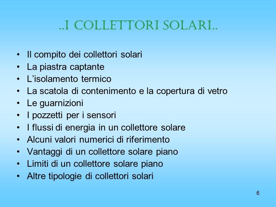 6..i collettori solari.. Il compito dei collettori solari La piastra captante Lisolamento termico La scatola di contenimento e la copertura di vetro L