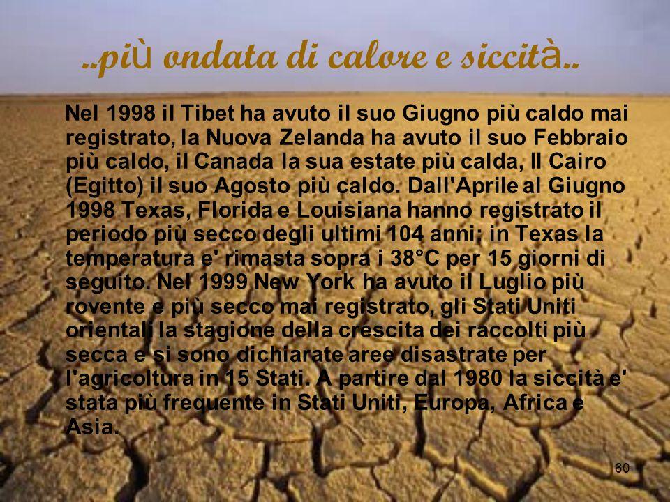 60..pi ù ondata di calore e siccit à.. Nel 1998 il Tibet ha avuto il suo Giugno più caldo mai registrato, la Nuova Zelanda ha avuto il suo Febbraio pi