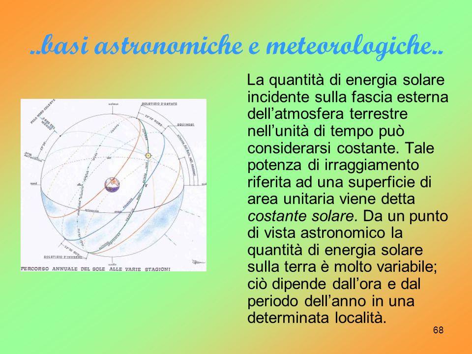 68..basi astronomiche e meteorologiche.. La quantità di energia solare incidente sulla fascia esterna dellatmosfera terrestre nellunità di tempo può c
