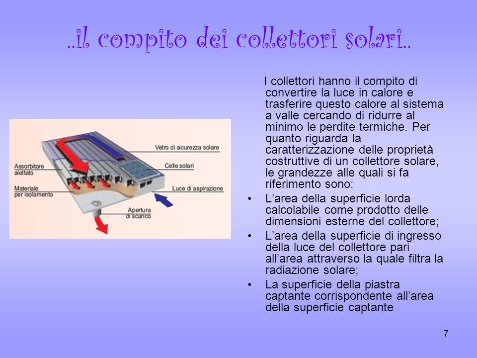 7..il compito dei collettori solari.. I collettori hanno il compito di convertire la luce in calore e trasferire questo calore al sistema a valle cerc