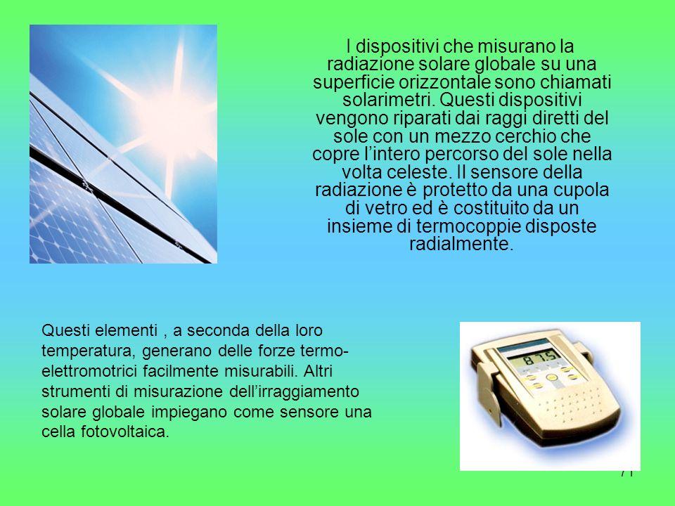 71 I dispositivi che misurano la radiazione solare globale su una superficie orizzontale sono chiamati solarimetri. Questi dispositivi vengono riparat