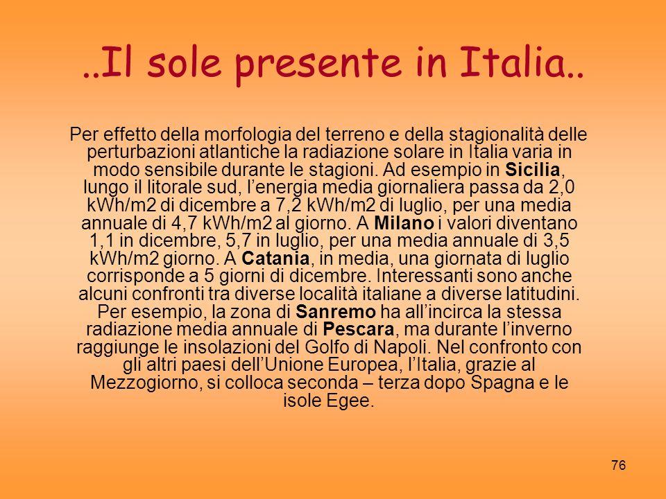 76..Il sole presente in Italia.. Per effetto della morfologia del terreno e della stagionalità delle perturbazioni atlantiche la radiazione solare in