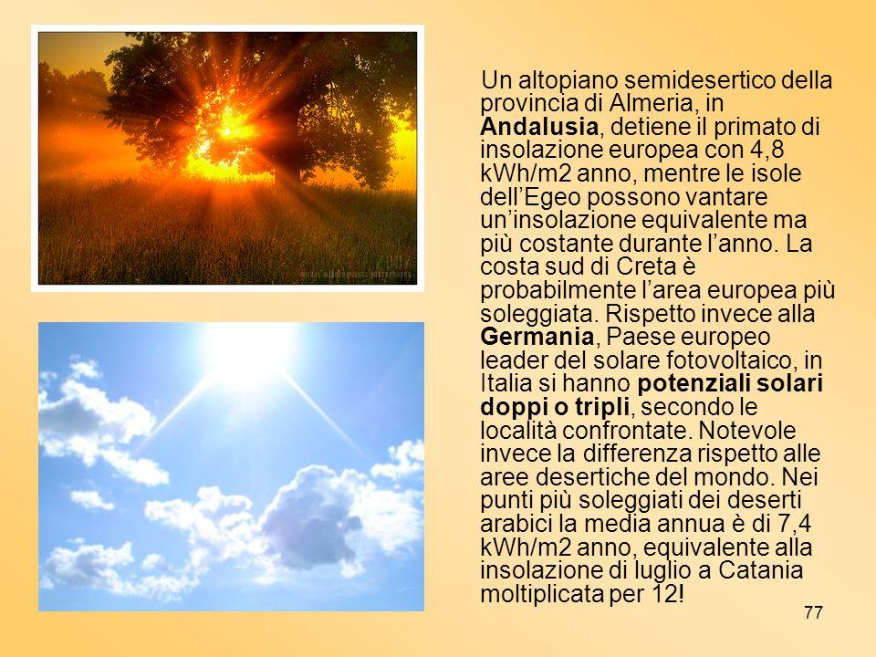 77 Un altopiano semidesertico della provincia di Almeria, in Andalusia, detiene il primato di insolazione europea con 4,8 kWh/m2 anno, mentre le isole