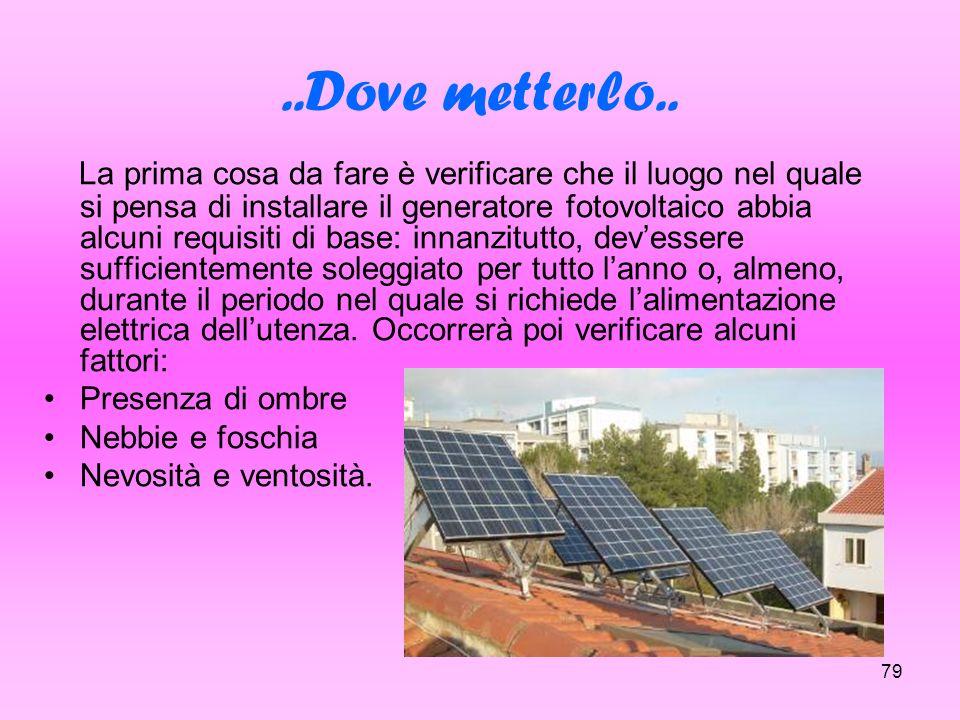 79..Dove metterlo.. La prima cosa da fare è verificare che il luogo nel quale si pensa di installare il generatore fotovoltaico abbia alcuni requisiti