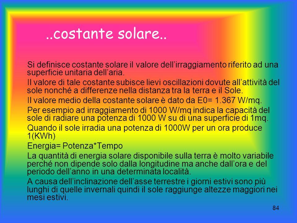 84..costante solare.. Si definisce costante solare il valore dellirraggiamento riferito ad una superficie unitaria dellaria. Il valore di tale costant