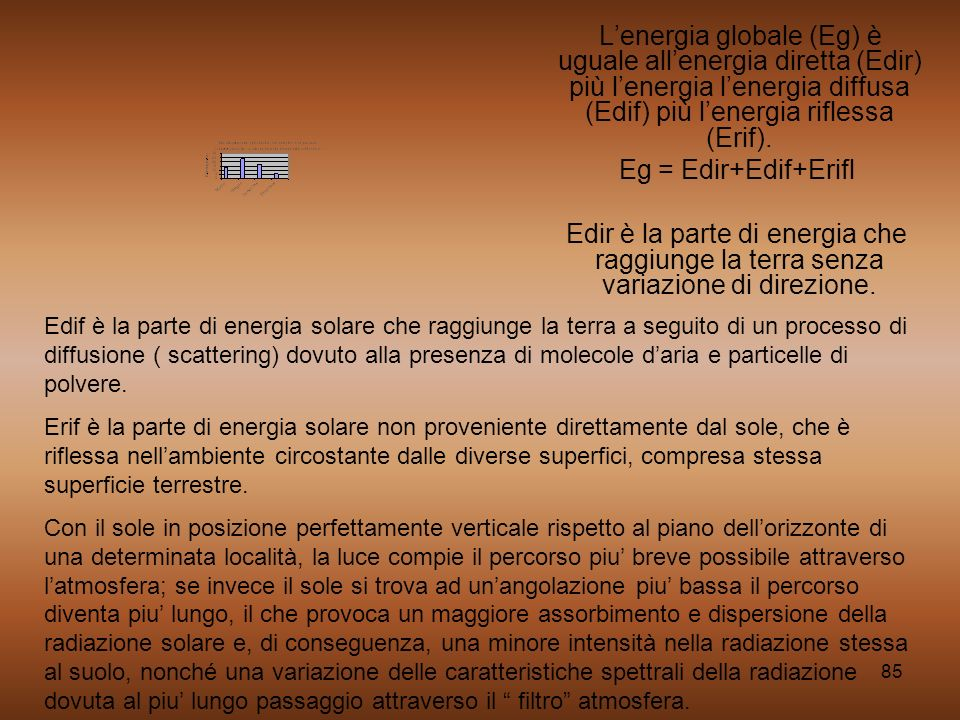 85 Lenergia globale (Eg) è uguale allenergia diretta (Edir) più lenergia lenergia diffusa (Edif) più lenergia riflessa (Erif). Eg = Edir+Edif+Erifl Ed