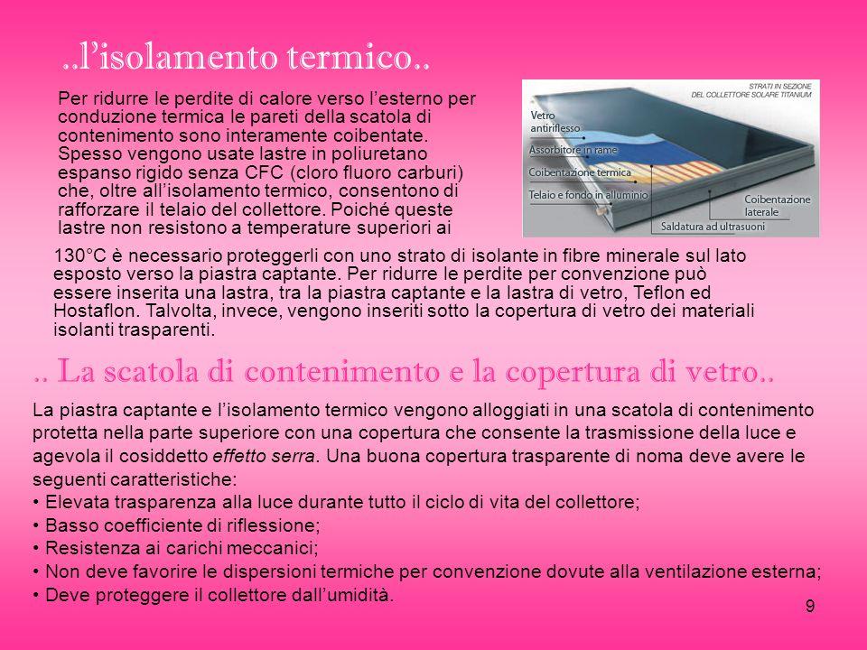 9..lisolamento termico.. Per ridurre le perdite di calore verso lesterno per conduzione termica le pareti della scatola di contenimento sono interamen
