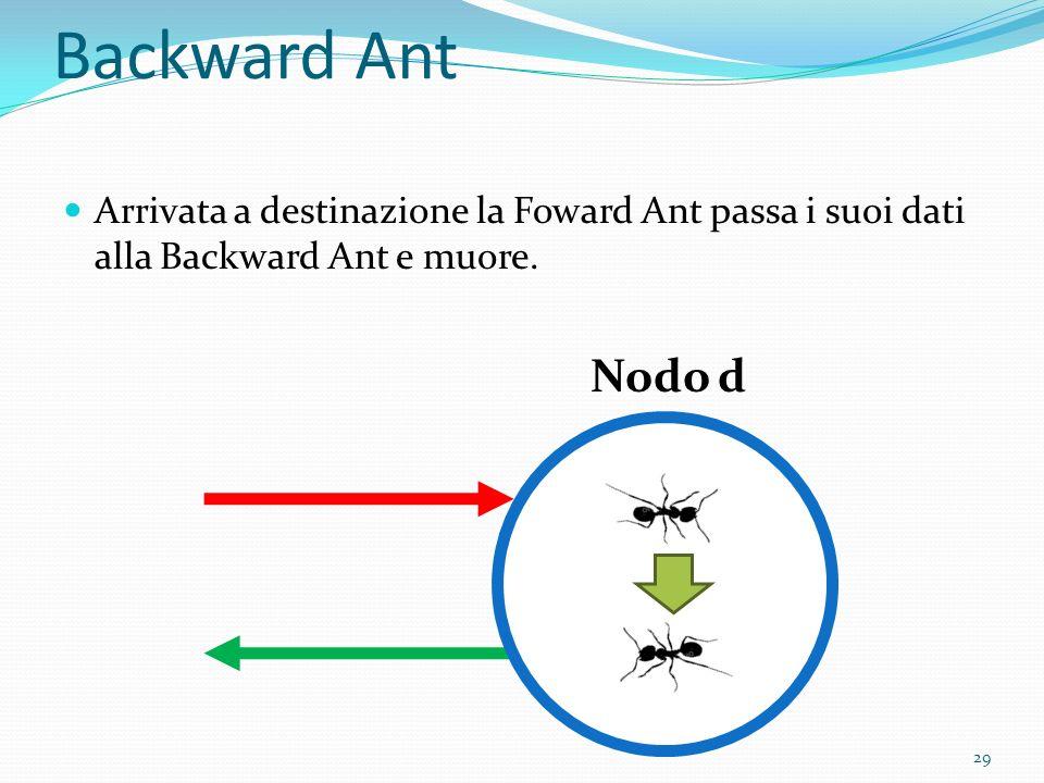 Backward Ant Arrivata a destinazione la Foward Ant passa i suoi dati alla Backward Ant e muore. Nodo d 29