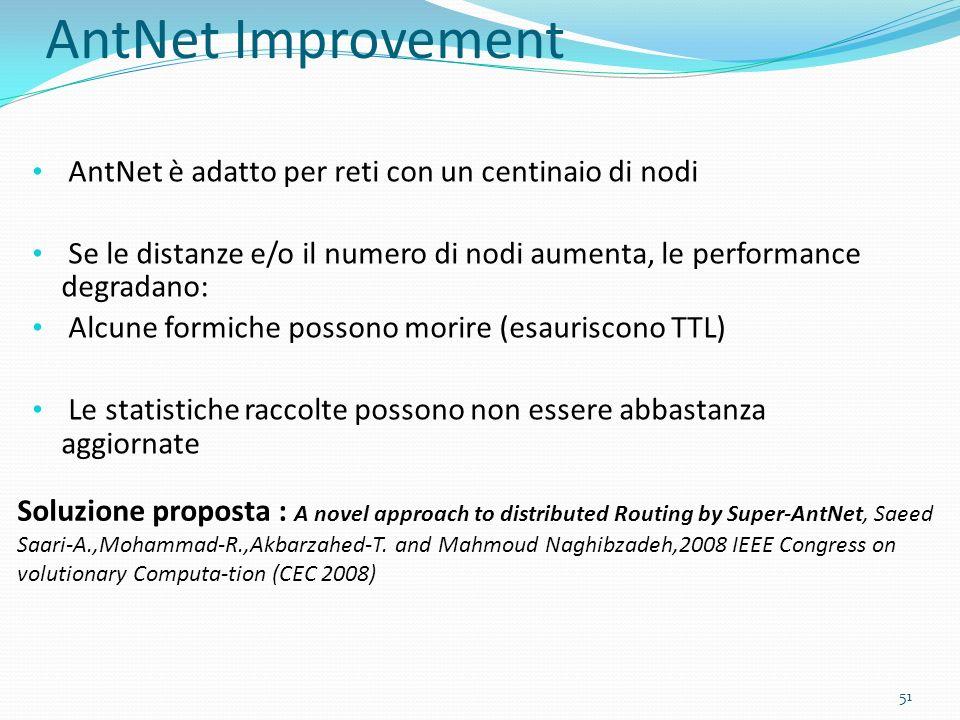 AntNet Improvement AntNet è adatto per reti con un centinaio di nodi Se le distanze e/o il numero di nodi aumenta, le performance degradano: Alcune fo