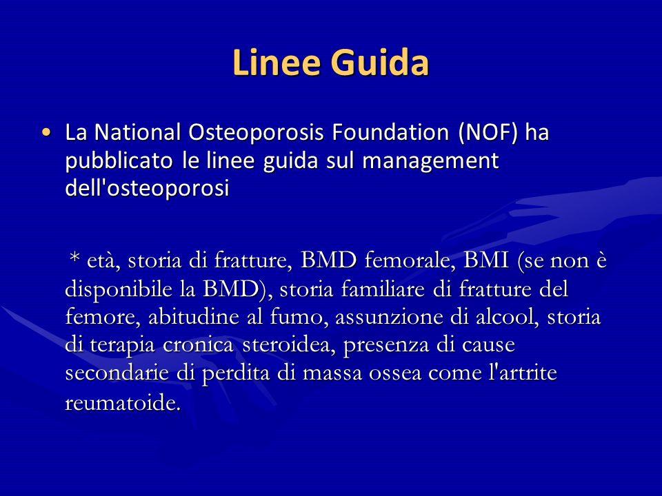 Linee Guida La National Osteoporosis Foundation (NOF) ha pubblicato le linee guida sul management dell'osteoporosiLa National Osteoporosis Foundation