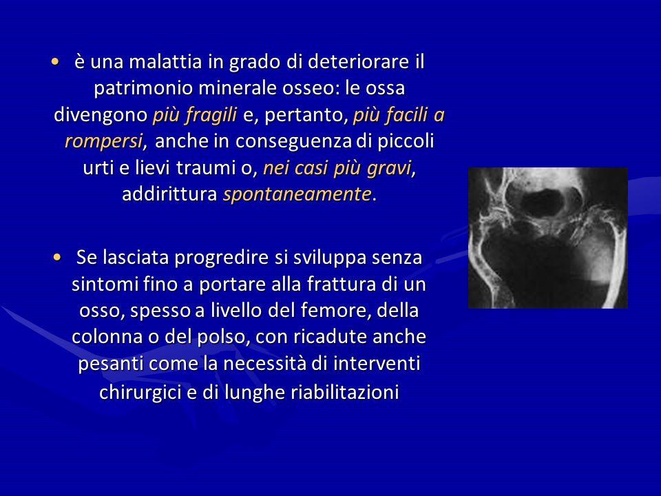 Linee Guida La National Osteoporosis Foundation (NOF) ha pubblicato le linee guida sul management dell osteoporosiLa National Osteoporosis Foundation (NOF) ha pubblicato le linee guida sul management dell osteoporosi * età, storia di fratture, BMD femorale, BMI (se non è disponibile la BMD), storia familiare di fratture del femore, abitudine al fumo, assunzione di alcool, storia di terapia cronica steroidea, presenza di cause secondarie di perdita di massa ossea come l artrite reumatoide.