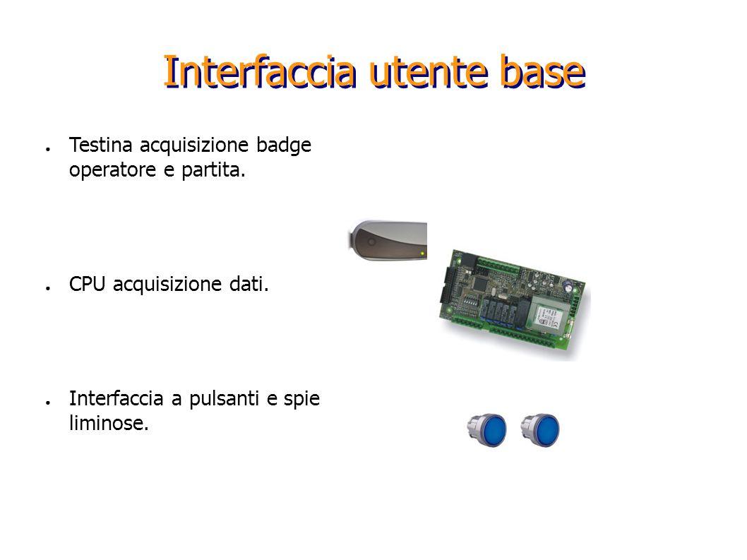 Interfaccia utente base Testina acquisizione badge operatore e partita. CPU acquisizione dati. Interfaccia a pulsanti e spie liminose.