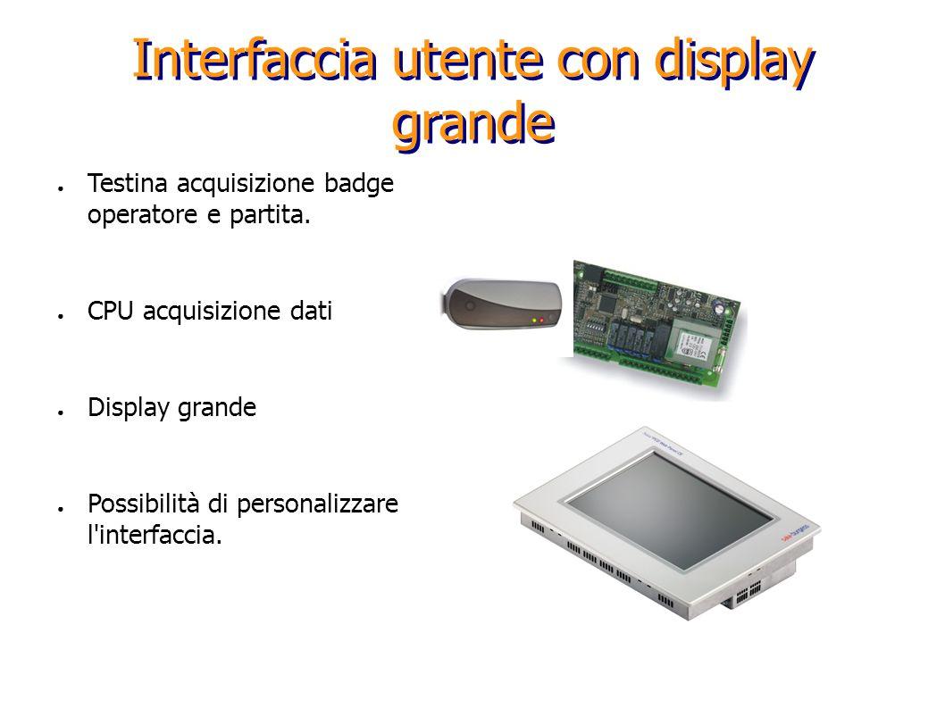 Interfaccia utente con display grande Testina acquisizione badge operatore e partita. CPU acquisizione dati Display grande Possibilità di personalizza