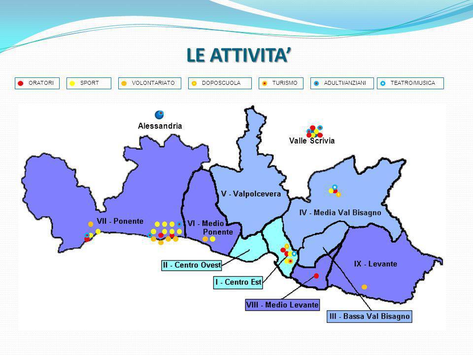 LE ATTIVITA ORATORI Valle Scrivia Alessandria SPORT VOLONTARIATO DOPOSCUOLA TURISMO ADULTI/ANZIANI TEATRO/MUSICA