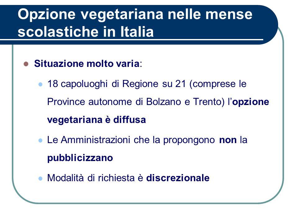 Opzione vegetariana nelle mense scolastiche in Italia Situazione molto varia: 18 capoluoghi di Regione su 21 (comprese le Province autonome di Bolzano