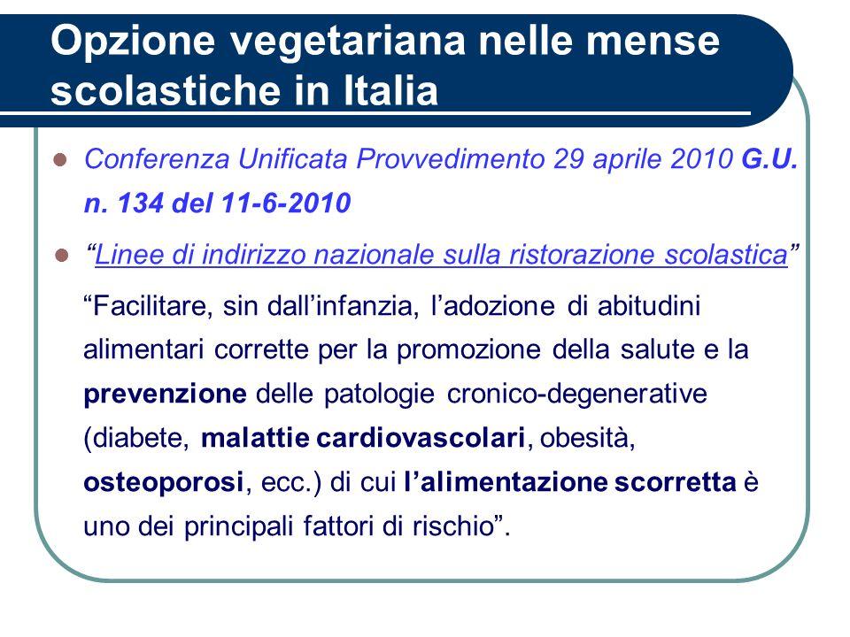 Opzione vegetariana nelle mense scolastiche in Italia Conferenza Unificata Provvedimento 29 aprile 2010 G.U. n. 134 del 11-6-2010 Linee di indirizzo n