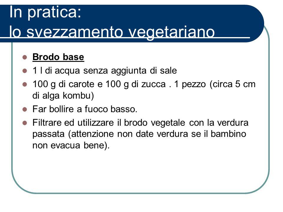 In pratica: lo svezzamento vegetariano Brodo base 1 l di acqua senza aggiunta di sale 100 g di carote e 100 g di zucca. 1 pezzo (circa 5 cm di alga ko