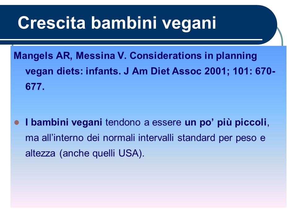 Crescita bambini vegani Mangels AR, Messina V. Considerations in planning vegan diets: infants. J Am Diet Assoc 2001; 101: 670- 677. I bambini vegani