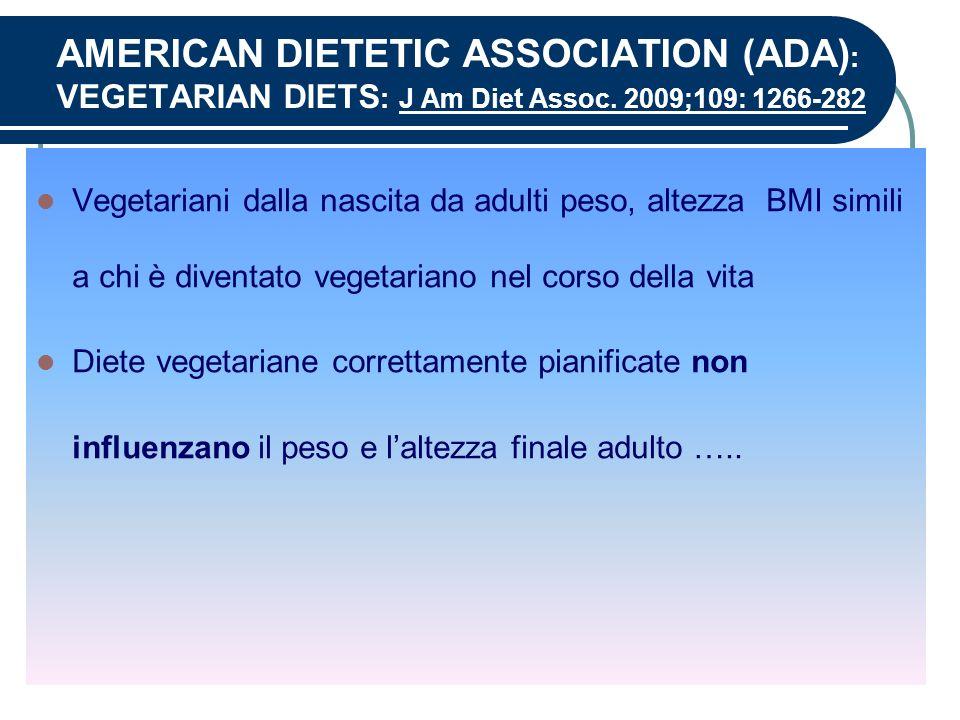 AMERICAN DIETETIC ASSOCIATION (ADA) : VEGETARIAN DIETS : J Am Diet Assoc. 2009;109: 1266-282 Vegetariani dalla nascita da adulti peso, altezza BMI sim