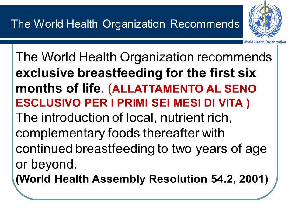 The World Health Organization recommends exclusive breastfeeding for the rst six months of life. ( ALLATTAMENTO AL SENO ESCLUSIVO PER I PRIMI SEI MESI