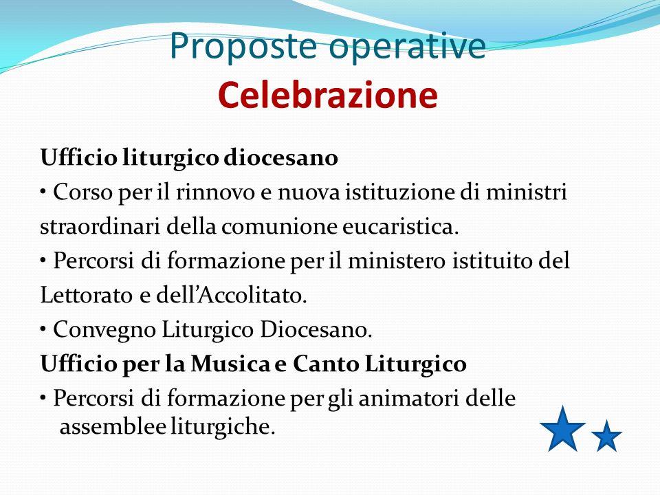 Proposte operative Celebrazione Ufficio liturgico diocesano Corso per il rinnovo e nuova istituzione di ministri straordinari della comunione eucaristica.