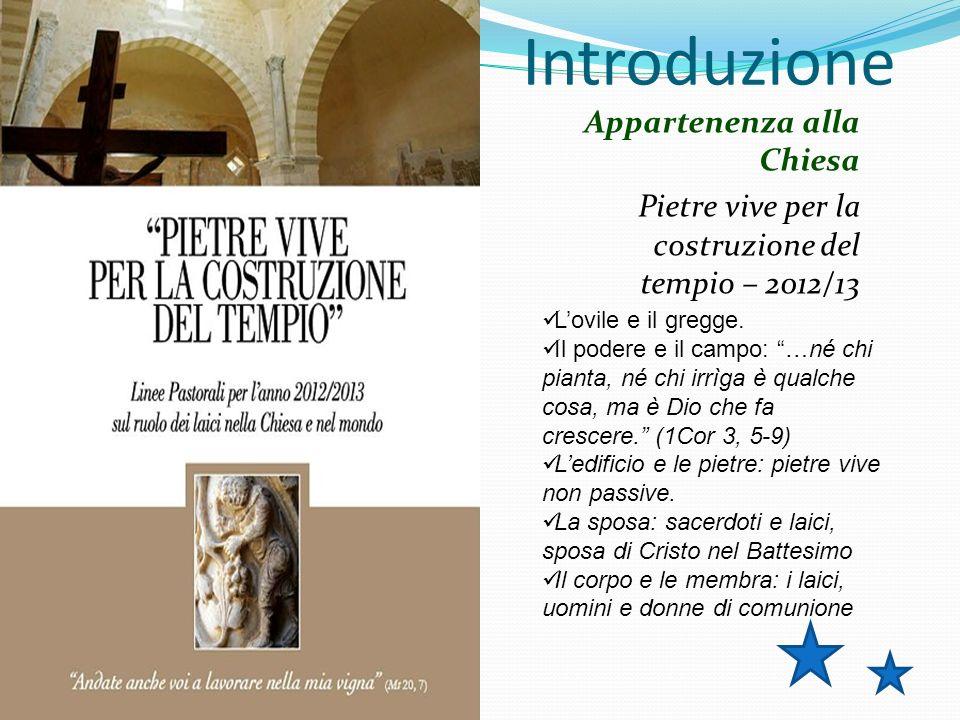 Introduzione Appartenenza alla Chiesa Pietre vive per la costruzione del tempio – 2012/13 Lovile e il gregge.