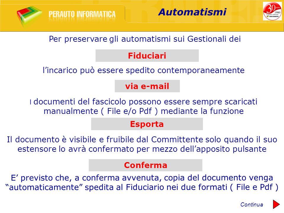Automatismi Il documento è visibile e fruibile dal Committente solo quando il suo estensore lo avrà confermato per mezzo dellapposito pulsante E previ