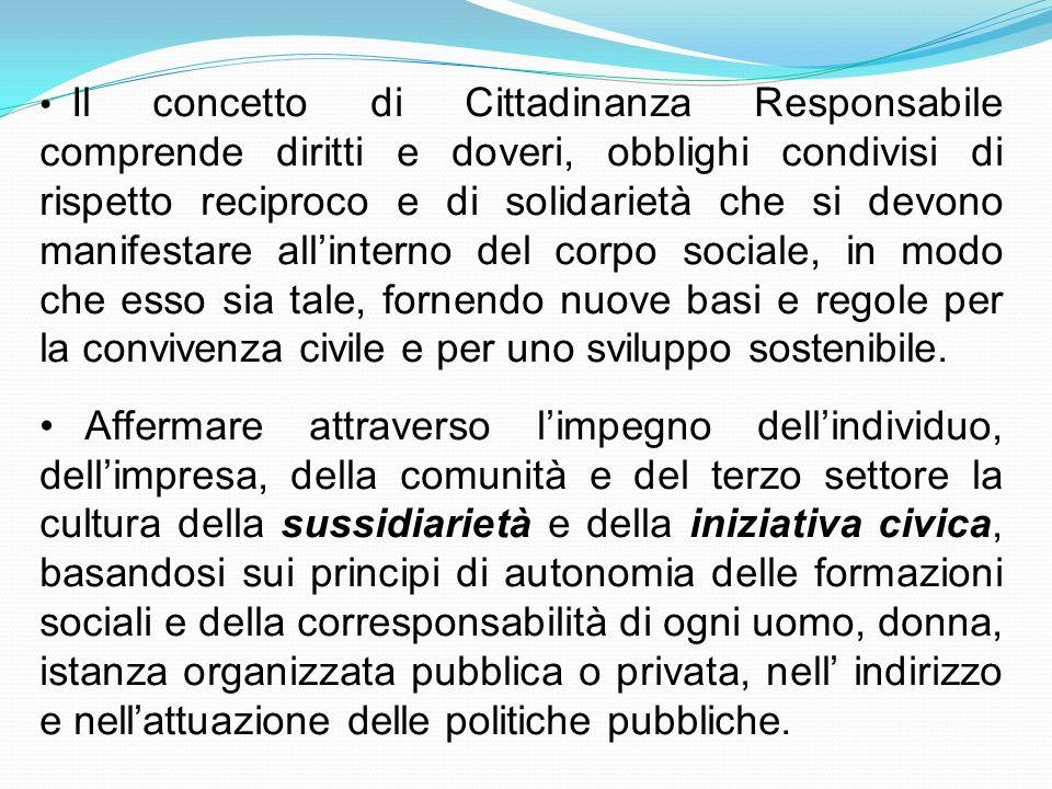 Il concetto di Cittadinanza Responsabile comprende diritti e doveri, obblighi condivisi di rispetto reciproco e di solidarietà che si devono manifesta