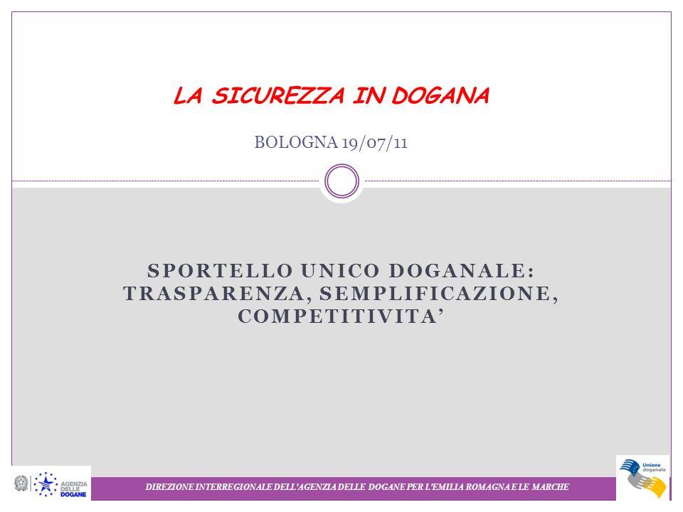 SPORTELLO UNICO DOGANALE: TRASPARENZA, SEMPLIFICAZIONE, COMPETITIVITA DIREZIONE INTERREGIONALE DELL'AGENZIA DELLE DOGANE PER L'EMILIA ROMAGNA E LE MAR