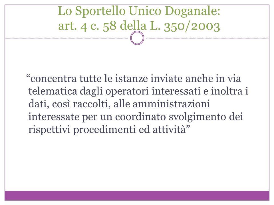 Lo Sportello Unico Doganale: art. 4 c. 58 della L. 350/2003 concentra tutte le istanze inviate anche in via telematica dagli operatori interessati e i
