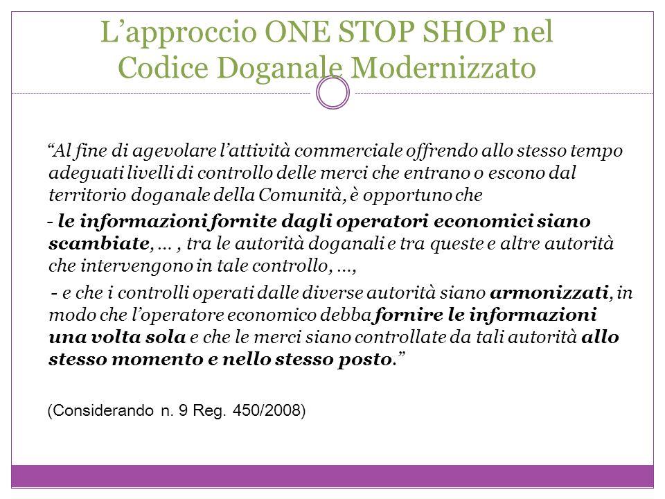 Lapproccio ONE STOP SHOP nel Codice Doganale Modernizzato Al fine di agevolare lattività commerciale offrendo allo stesso tempo adeguati livelli di co