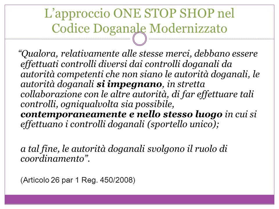 Lapproccio ONE STOP SHOP nel Codice Doganale Modernizzato Qualora, relativamente alle stesse merci, debbano essere effettuati controlli diversi dai co