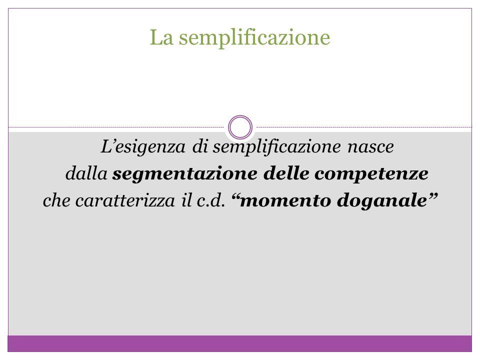 La semplificazione Lesigenza di semplificazione nasce dalla segmentazione delle competenze che caratterizza il c.d. momento doganale